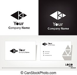 Abstract triangle logo vector design with business card template.