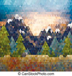 Abstract triangle low poly mountain landscape