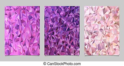 Abstract triangle mosaic brochure cover template set - vector document background designs from colored triangles