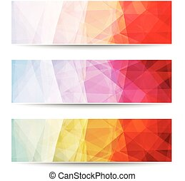 Abstract triangle pattern banners - Abstract layered...