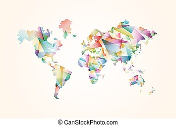 Abstract triangle world map concept illustration
