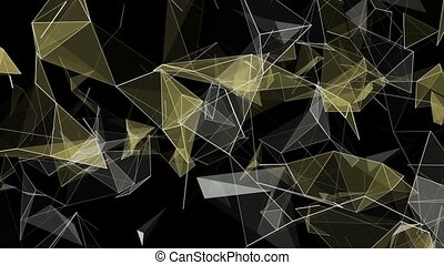 Abstract triangles in yellow color on black