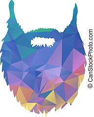 Abstract triangles, low poly, beard isolated on white background Vector