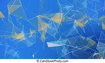 Abstract triangles on blue