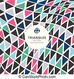 Abstract triangles pattern retro color style on white background.