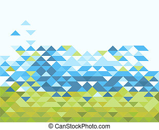 abstract triangles in green and blue