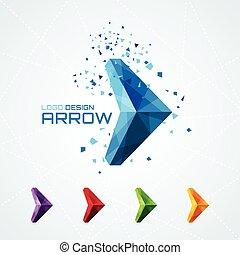 Abstract triangular arrow logo or sign or symbol. Vector illustration