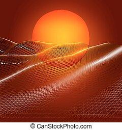 Abstract triangular background red landscape. Digital landscape sunset.