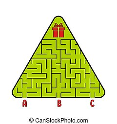 Abstract triangular labyrinth. Christmas tree with a gift. Find the right path. Game for kids. Puzzle for children. Labyrinth conundrum. Flat vector illustration isolated on white background.