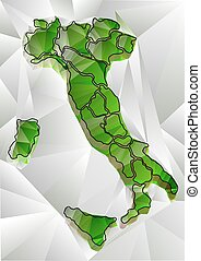 abstract triangular map of Italy - abstract green triangular...