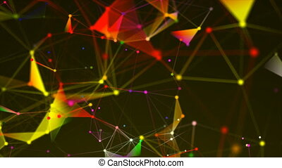 Abstract triangulation plexus with connections in space, background with connecting dots and lines, 3d rendering backdrop