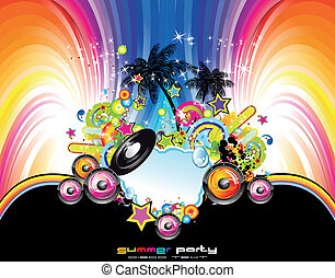 Abstract Tropical and latin music event background -...
