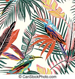 abstract tropical birds in the jungle seamless background