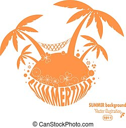 Abstract tropical island with palm trees and a hammock. Summer background. Vector illustration