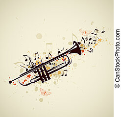 Abstract trumpet and notes - Music abstract background with...