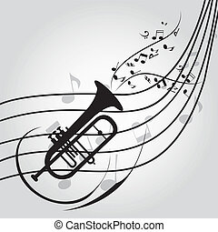 abstract trumpet on score on special music background