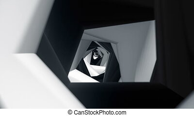 Abstract tunnel in black and white