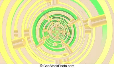 Abstract tunnel in green and yellow