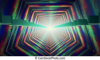 Abstract tunnel in multi color with light at the end