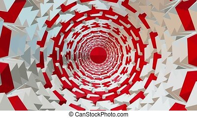 Abstract tunnel in red and white