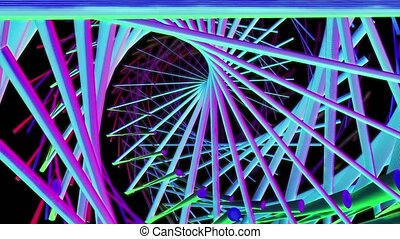 Abstract tunnel shape lines on black background