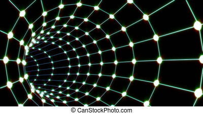 Abstract tunnel with neon light looped animation