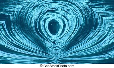 Abstract fantastic magic background same to pulsating sphere in the center, mute blue and turquoise colors, motion video, blured