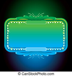 Abstract Turquoise Neon Sign. Design Background