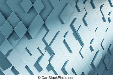 Abstract turquoise square chaotic pattern. Background concept, 3d rendering