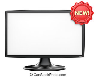 Abstract TV monitor with red label isolated on white background.