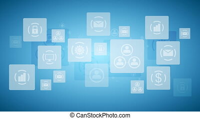 Abstract twinkling icons, communication tech design video animation