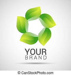 Abstract twisted eco sphere green leaf logo