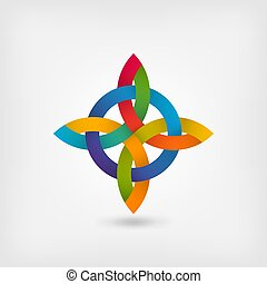 abstract twisted symbol in gradient rainbow colors