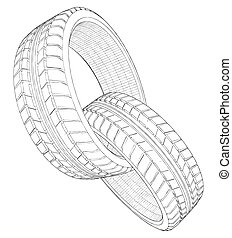 Abstract Two Car Wheel Tire Chain