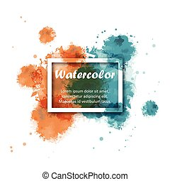 Abstract Two tone Orange and Green color of watercolor background with white square border for illustrator graphic vector design