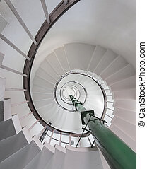 Abstract under spiral stairs