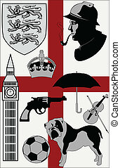 Abstract United Kingdom stereotypes set