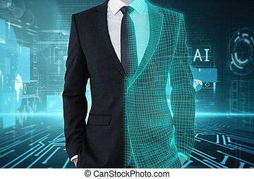 Technology, artificial intelligence and analytics concept
