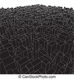 Abstract Urban City Boxes From Cube Vector
