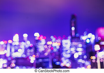 abstract urban cityscape bokeh ligjt in twilight time