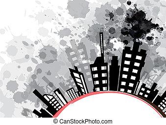 abstract urban design with black ink splash
