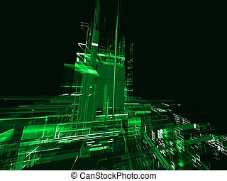Abstract green technological urban luminous background with constructions