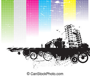 urban grunge city - abstract urban grunge city background, ...