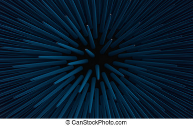 Abstract urchin spines 3d render - 3d render of blue urchin...