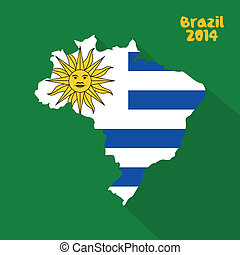 Uruguay - abstract Uruguay flag on abstract Brazil map