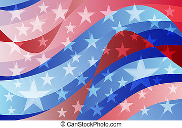 Abstract USA American flag wavy background