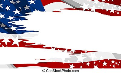 Abstract USA flag paintbrush banner background vector illustration
