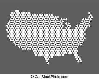Abstract USA map of hexagons - Abstract vector map of United...