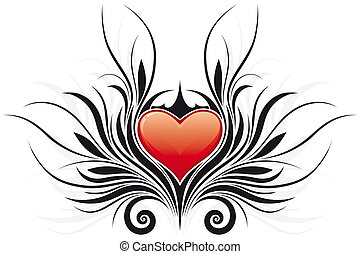 abstract, valentine\'s, dag, hart, tatto