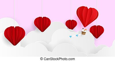 abstract valentines day background, couple with heart shape balloon flying on cloud paper art